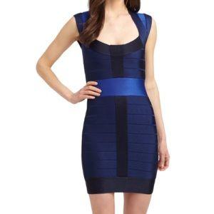 Blue Tribbon Colorblock Cap Sleeve Bandage Dress